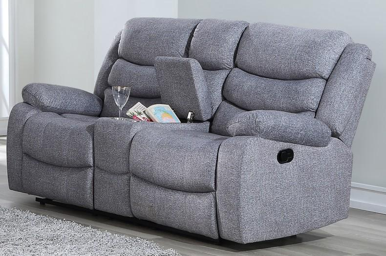 Dual Reclining Sofa and Love seat with console in Gray Fabric