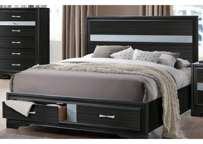 Jewel Black Storage Platform Bed - Queen,Instore