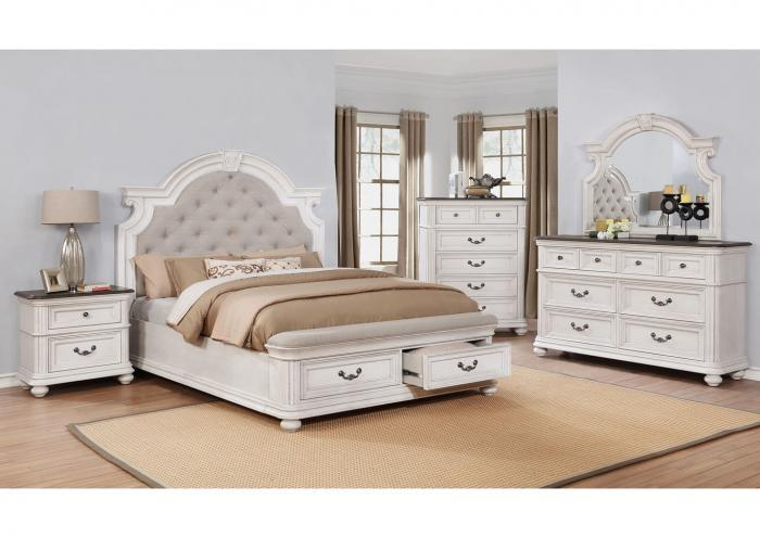 Lanett Platform Storage Bedroom Set with Padded Footboard - Queen,Instore