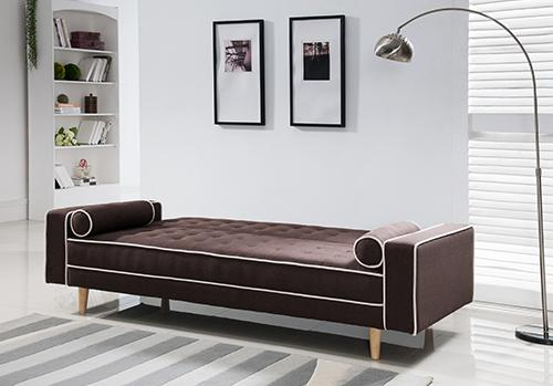 Norton Brown Click Sofa with white tubing