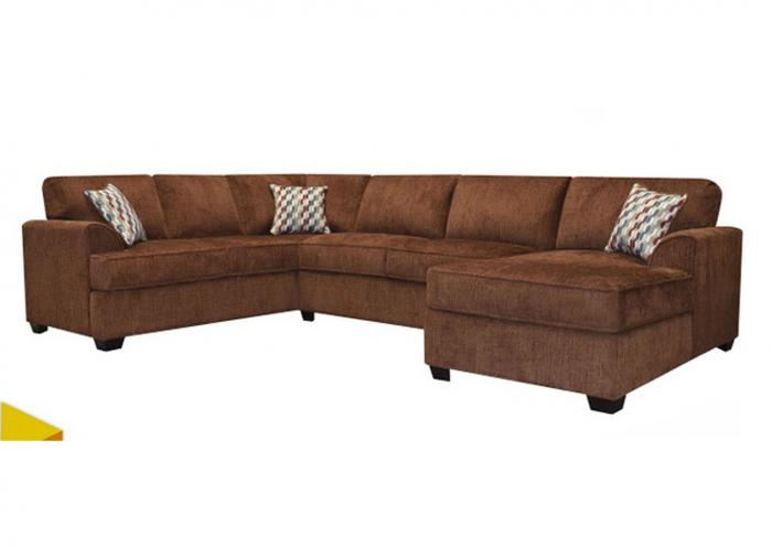 Leah 3pc Sofa Sectional with Chaise Bark,Instore