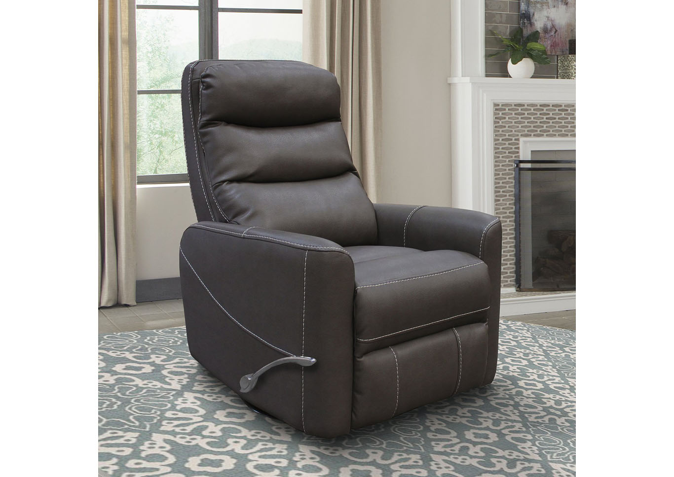 ZEUS MANUAL SWIVEL RECLINER CHOCOLATE,Instore