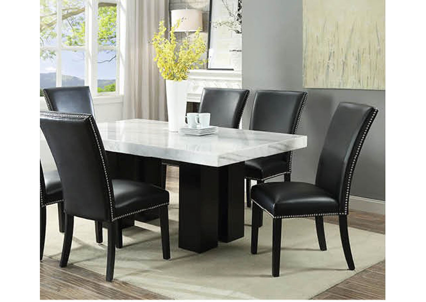 Cam White Marble Dining Room Set with 6 Black Chairs,Instore