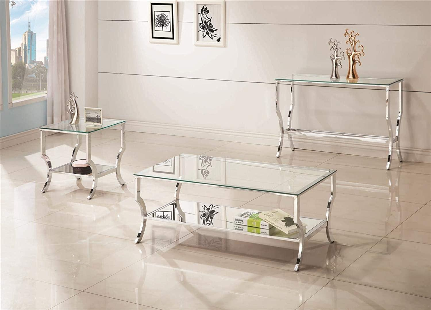 Sonoma Chrome Glass Top Coffee Table