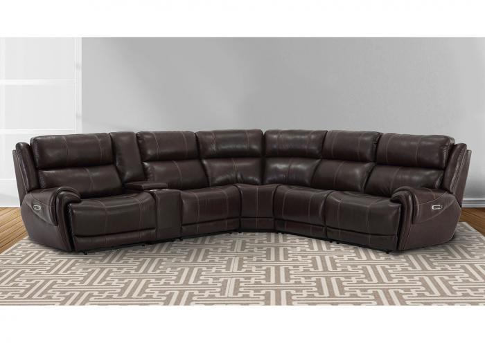 Spencer 6pc Top Grain Leather Power Modular Sectional with Power Headrest, 3 Power Recliners and USB Charging Brown,Instore