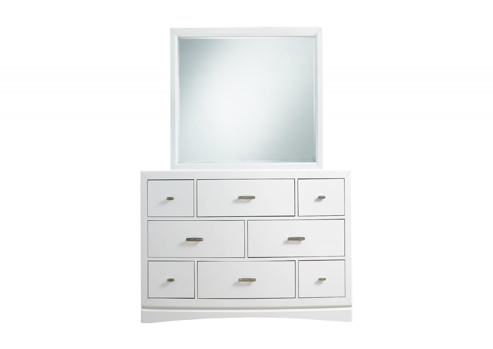 Toro White Bedroom Group with Dresser Mirror and Nighstand.  STorage in Side rails