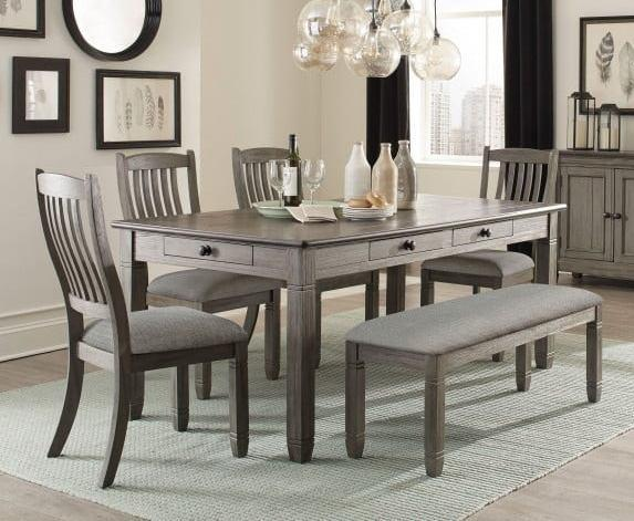 Cara Gray Dining Set with Drawers in the Table and 4 Side Chairs with a long backless bench