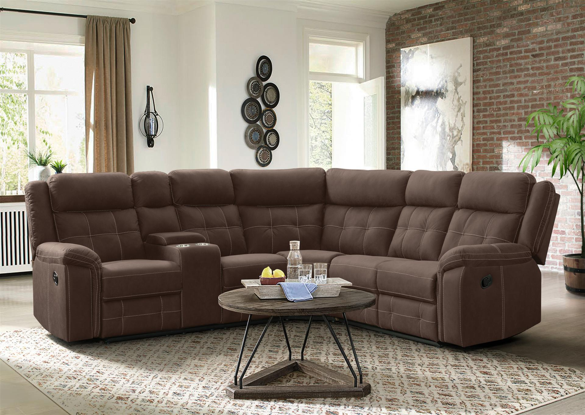 Brown 3 Piece Sectional with Storage Console and 2 recliners