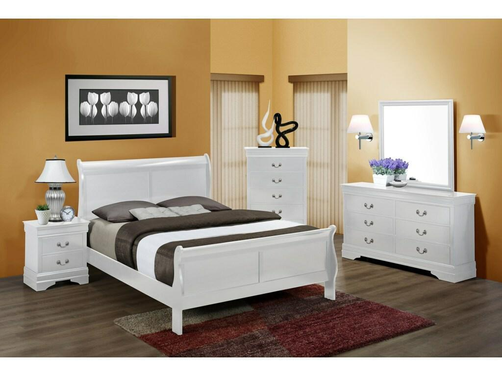 White Sleigh Bed Set with Dresser, Mirror, and Nightstand