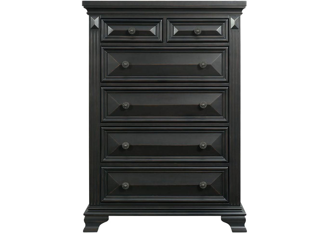 Calloway 6 Drawer Chest - Black,Instore