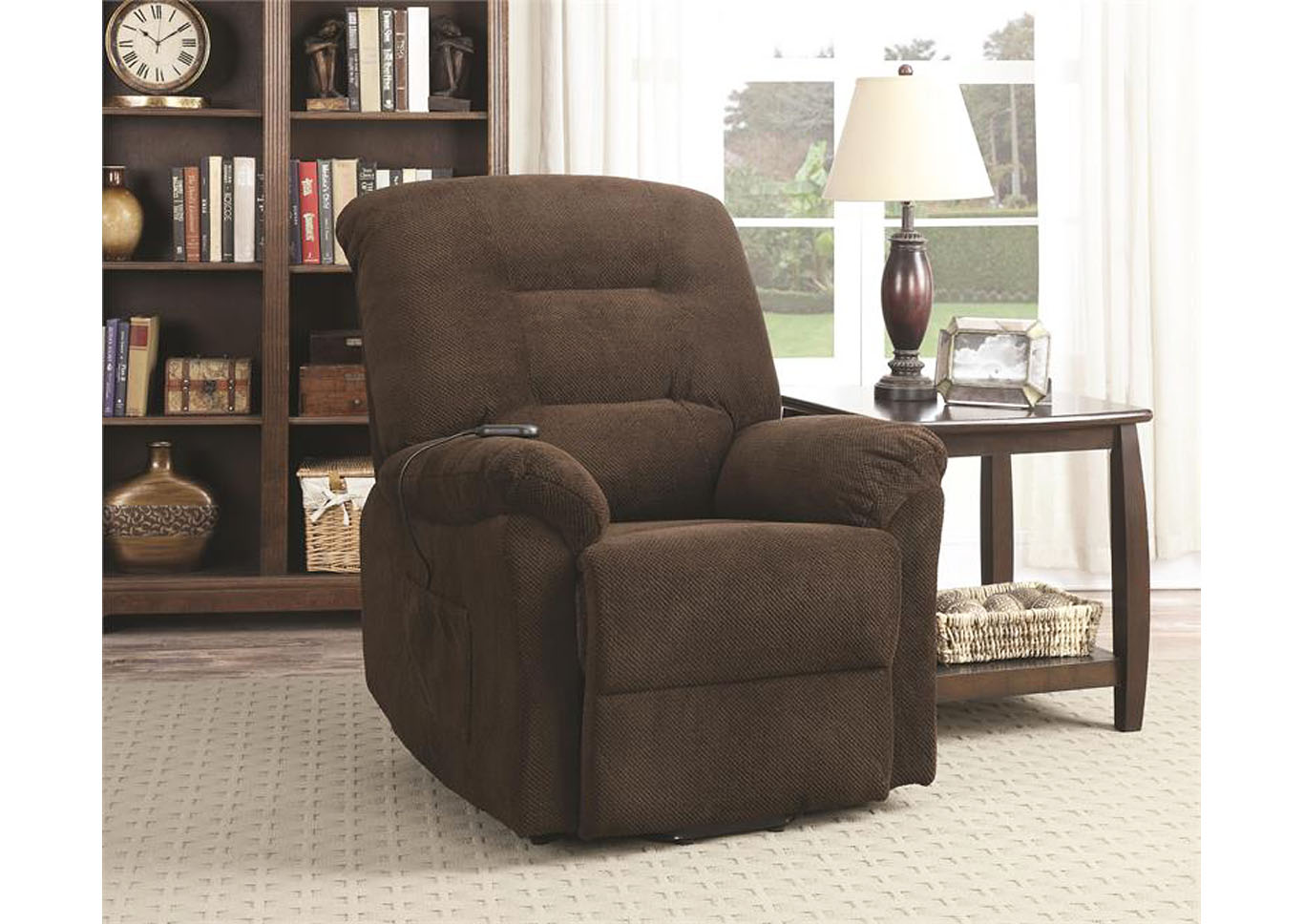 Maverick Power Lift Reclining Chair - Chocolate,Instore