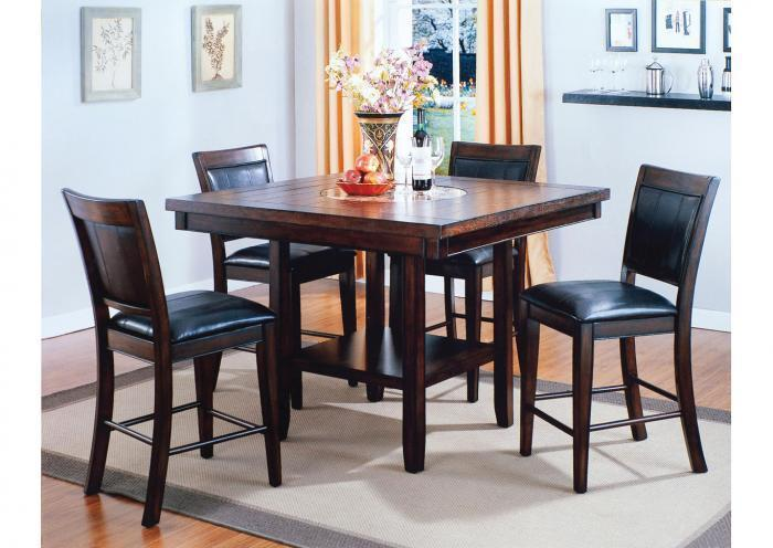 Melrose Espresso Counter Height Set - Table with 4 Stools,Instore