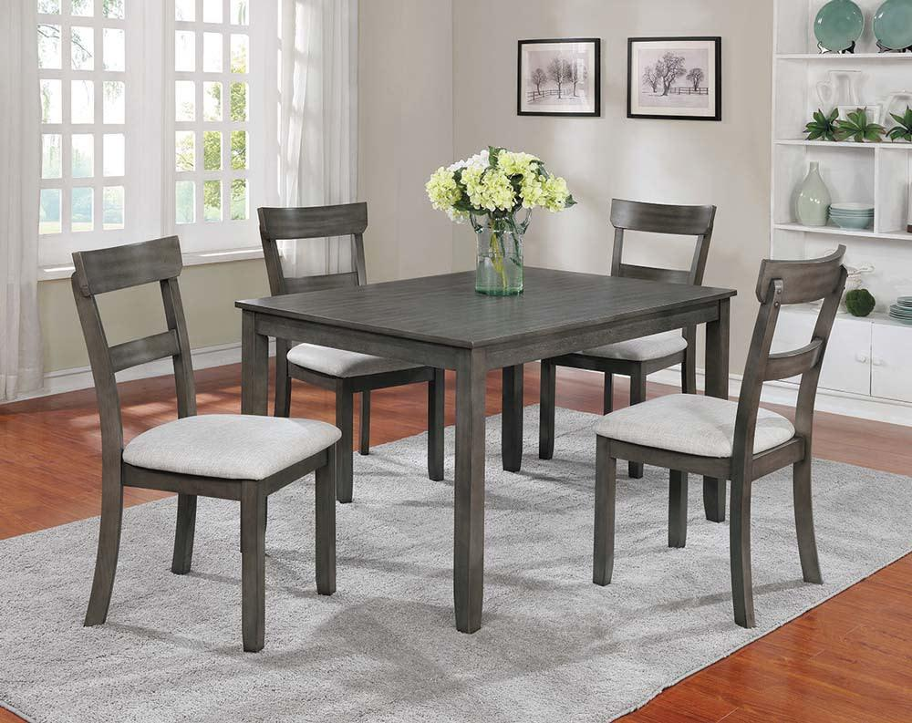 Gray Dining Set with 4 chairs and a table