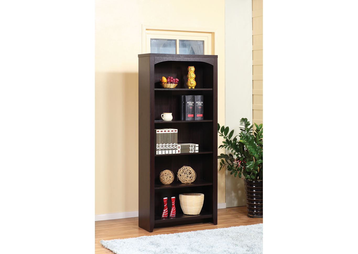 Red Cocoa 70 Inch Bookshelf,Instore