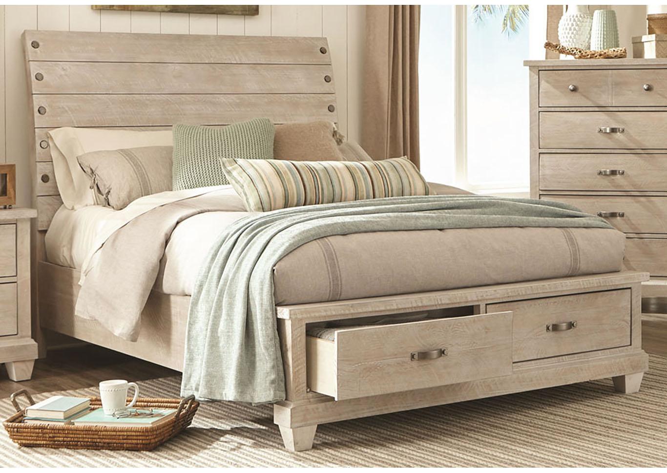 Picture of: Rock White Wash Platform Storage Bed Queen Nader S Furniture
