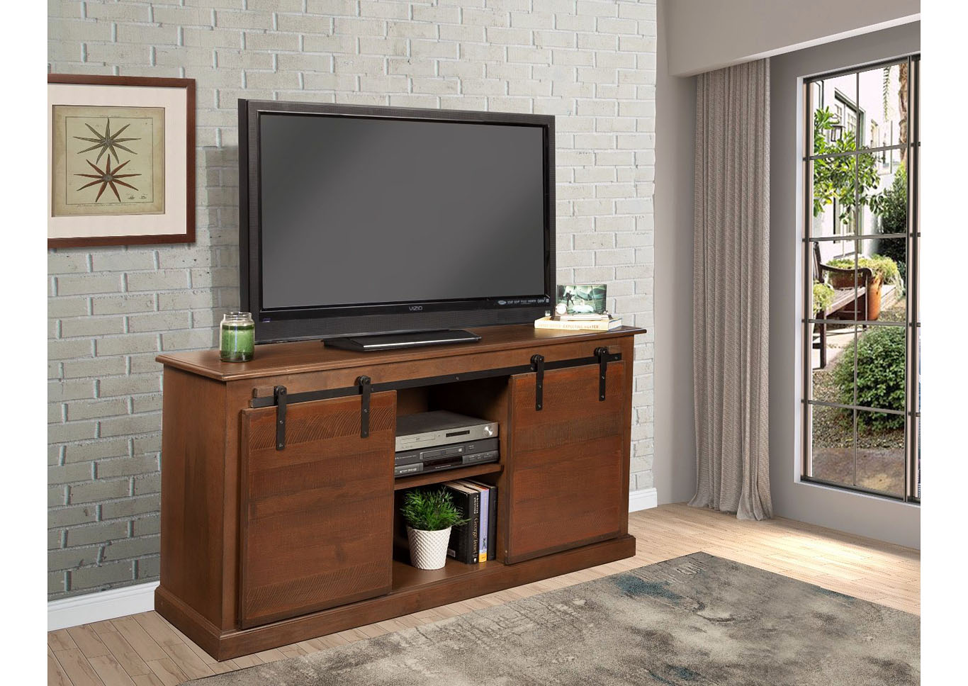 Country Barn Door 62 ³ TV STAND- Brown,Instore