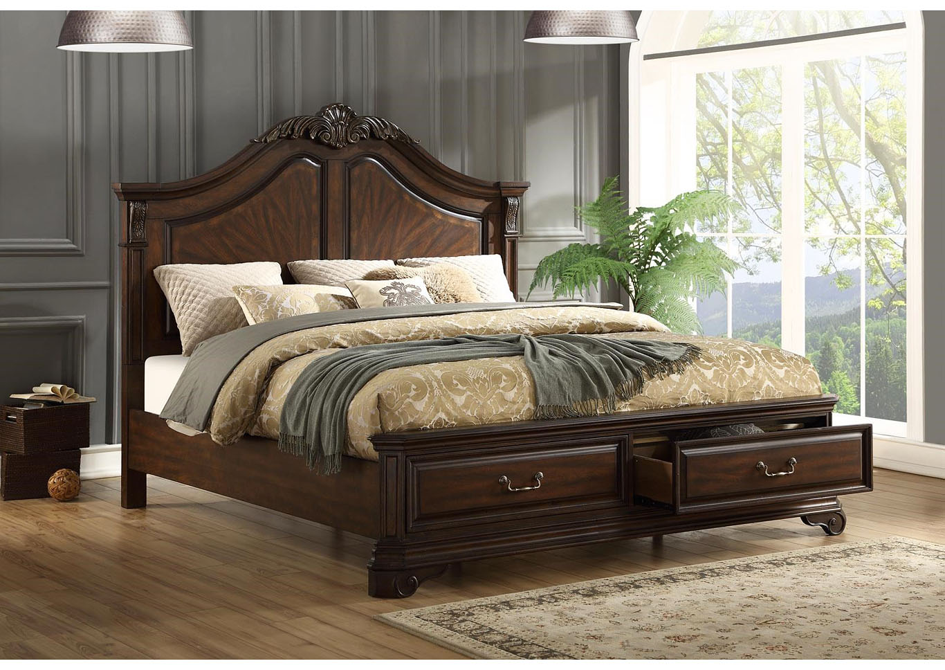 Andrea 4pc Traditional Storage Bedroom Group - Queen,Instore