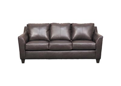 "Lane Furniture ""Grant"" Top Grain Leather / Mate Sofa Sleeper - Bark"