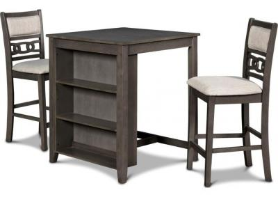 Image for Gia Counter Height Table with Storage Shelves and 2 Stools - Gray