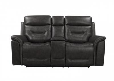 Image for Bullard Gray Power Head and Foot Leather Dual Reclining Love Seat with Console