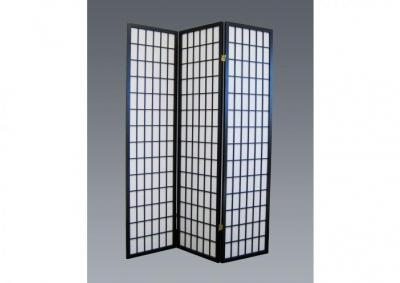 Image for 3 Panel Wood Screen| Color| Black