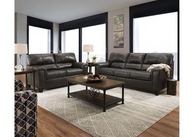 Image for Lane Furniture  Kennedy Top Grain Leather / Mate Sofa and Love Seat Fog