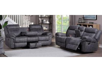 Pierce Dual Reclining Sofa and Dual Reclining Glider Love Seat - Charcoal