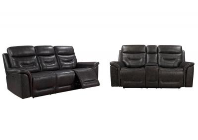 Image for Bullard Gray Power Head and Foot Leather Dual Reclining Sofa and Power Head and Foot Dual Reclining Love Seat with Console
