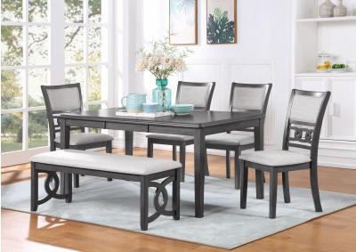 Gia 60 Inch Dining Table with 4 Chairs and Backless Bench - Gray