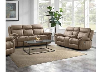 Pierce Dual Reclining Sofa and Dual Reclining Glider Love Seat - Brown