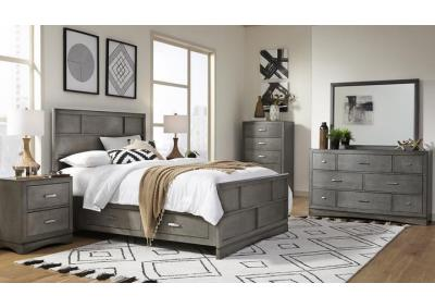 Toro Eastern King Storage Panel Bedroom Set - Gray