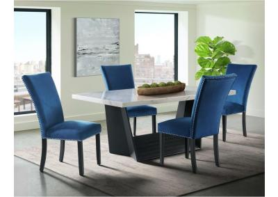 Image for Valentino Marble 5pc Dining Set with 4 Blue Fabric Chairs