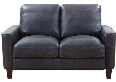 Chino Top Grain Leather Love Seat - Gray