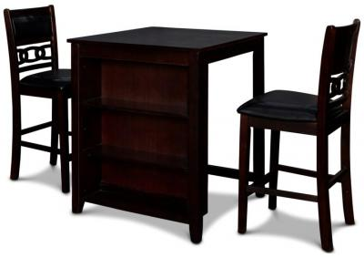 Image for Gia Counter Height Table with Storage Shelves and 2 Stools - Ebony