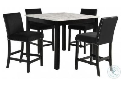"Image for  Cecilia 5 Pc 42"" Faux Marble Finish Counter Dining Set  - Black"