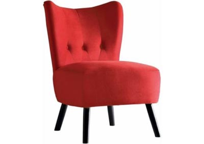 Jackie Velvet Accent Chair - Red