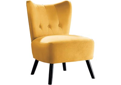 Jackie Velvet Accent Chair - Yellow