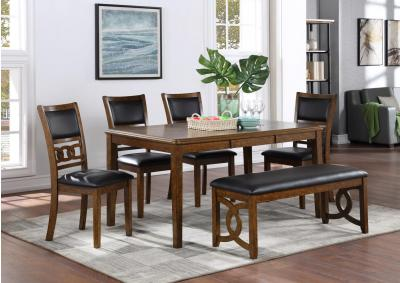 Gia 60 Inch Dining Table with 4 Chairs and Backless Bench - Brown