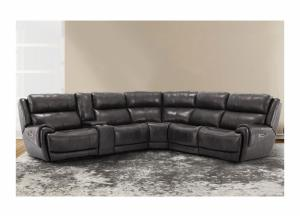Spencer 6pc Top Grain Leather Power Modular Sectional with Power Headrest, 3 Power Recliners and USB Charging Gray