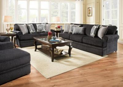 Simmons Roosevelt Stationary Sofa and Love Seat - Slate