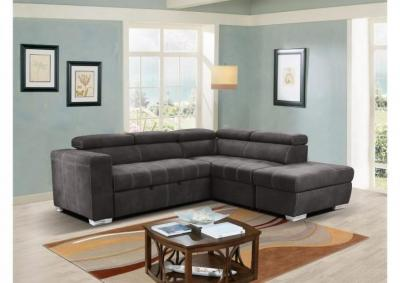 Abby Media Sectional with Pull Out Pop Up Ottoman and Moveable Storage Ottoman