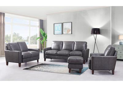 Chino Top Grain Leather Sofa and Love Seat - Gray