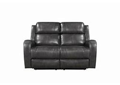 Cortana Top Grain Leather Power Dual Reclining Love Seat Gray