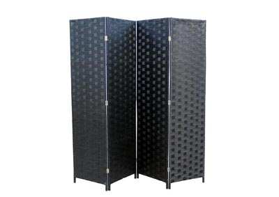 Oregon Black Wicker 4 Panel Room Divider