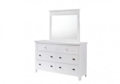 Image for Jazz 6 Drawer Dresser and Beveled Mirror - White