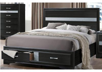 Jewel Black Storage Platform Bed - Queen