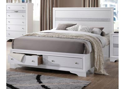 Jewel White Storage Platform Bed - Queen