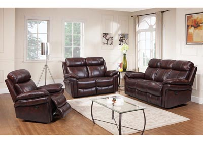 Image for Joplin Top Grain Leather Power Dual Reclining Sofa and Power Dual Reclining Love Seat