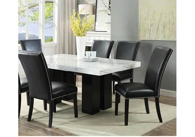 Cam White Marble Dining Room Set with 6 Black Chairs