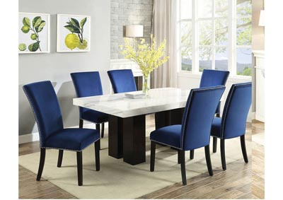 Image for Cam White Marble Dining Room Set with 6 Blue Chairs